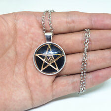 Chain Pendant Necklace Jewelry Pentagram Cabochon Tibetan silver Glass