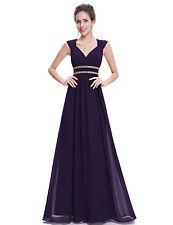 Ever jolie femme élégante V-cou longue robe de soirée