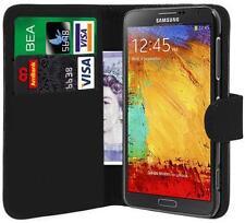 Negro Pu Cuero Cartera Funda Para Galaxy Note 3 N9000 + Protector De Pantalla Gratis