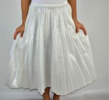 DKNY Donna Karan Midi Pleated Skirt White Metallic W 31 Christmas Size 10 LB