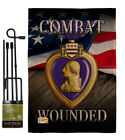 Purple Heart Combat Wounded Burlap Garden Flag Service Armed Forces House Banner