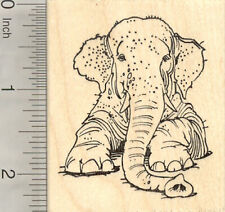 Asian Elephant Rubber Stamp, Laying Down, Endangered Wildlife, India, J24104 WM