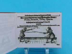 1:12 Scale Book,  Salvator Fabris The Art of Fencing , 1713 Crafted By K.B