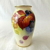 Royal Worcester Small Vase Hand Painted Signed Kitty Blake G461 Autumn Fruits