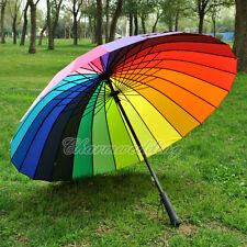 Colorful Rainbow Umbrella Outdoor Wedding Bridal Party Rain Parasol Windproof