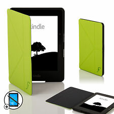 Leather Green Smart Origami Case for Amazon Kindle Voyage + Screen Prot & Stylus