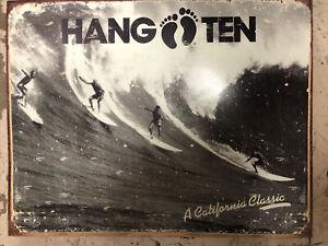 Hang Ten California Classic Metal Sign Tin Vintage Garage Bar Surfing Big Wave