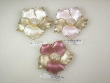 3 different colors   DESIGNER, vintage flower PINS BROOCHES  CRYSTALS #1741.3