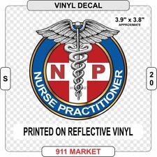 NP Reflective Decal Nurse Practitioner Nursing Car Sticker Caduceus Gift - S 20