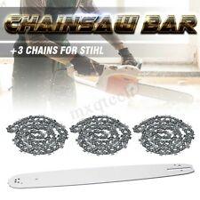 """20"""" Chainsaw Bar + 3Pcs Chains Combo Kit Sprocket Nose For STIHL 3/8 72DL .63"""""""