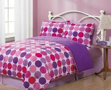 2P Geo Polka Dots Circles Reversible Solid Comforter+PillowCase Twin Bedding Set