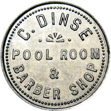 1917 Palatine Illinois Good For Token Dinse Pool Room & Barber Shop Unlisted