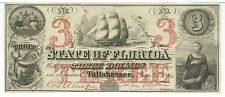 Florida Tallahassee $3 Bank Note issued 1864 sailing ship maid  CR37 #975