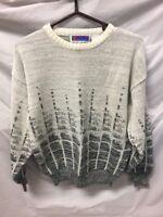 Sweater Graphix White Gray Crewneck Sweater Mens Sz M 80s Retro Vintage VTG