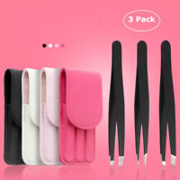 AM_ 3Pcs Portable Stainless Steel Eyebrow Tweezers Hair Removal Clips Set Popula