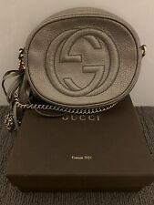 Gucci Beige Iridescent Leather Mini Soho Disco Chain Shoulder Bag