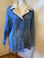 Caslon Blue Denim Jean Sherpa Fleece Button Jacket 1 X Womens Shirt Style