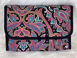Vintage MARY KAY Pink Purple Turquoise Paisley Makeup BAG Mirror Zipper Travel