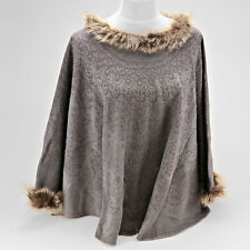 Gray Poncho Scarf with Fur Accent