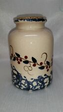 COUNTRY PRIMITIVE FOLK SPONGE PAINTED CERAMIC JAR