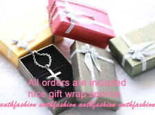 Womens Big Size Crystal Pendant with TRIPLE Chain Necklace Silver Plated P9597