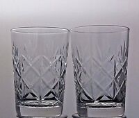 """CUT GLASS CRYSTAL WHISKY FLAT TUMBLERS SET OF 2 - 3 1/3"""" TALL"""