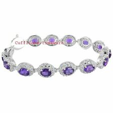Natural Amethyst & CZ Gemstones With 925 Sterling Silver Bracelet For Women's