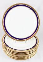 SET(S) 2 DINNER PLATES ANTIQUE CAULDON CHINA L4145 COBALT RAISED GOLD ENCRUSTED