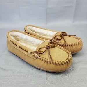 Minnetonka Tan Suede Faux Fur Lined Moccasins Slippers US Women's Size 7M 4052