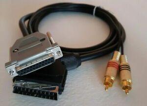 Commodore Amiga A500 A600 A1200 A2000 A4000 RGB Scart gold TV Video Cable *NEW*