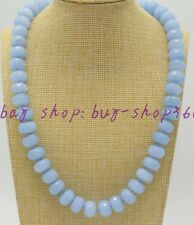 Natural Charming 8x12mm Faceted Aquamarine Abacus Gemstone Necklace 18""