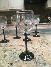 Luminarc Wine Glasses 6 oz. black stem set of 7