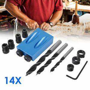 14tlg Pocket Hole Jig Kit 15 Grad Winkel schräge Bohrer Guide Puncher Locator