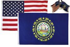 Wholesale Combo Usa & New Hampshire State 3x5 3'x5' Flag & Friendship Lapel Pin