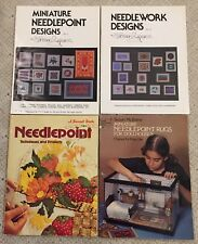 Vintage Needlepoint Projects Lot - Dollhouse Miniatures Rugs