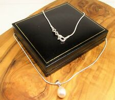 18 ' white real freshwater pearl pendant necklace, silver chain in gift box