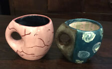 New listing Elephant Coffee/Tea Mugs (2) Abstract- Glazed 1 Pink, 1 Blue