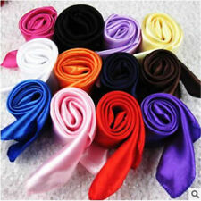 Women's Candy Colors Solid Silk-Satin Kerchief Small Square Neck Scarves 50*50cm