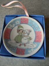 Precious Moments Mini Christmas Plate Hanging Ornament Sno' Day Like A Holiday