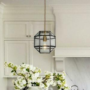 Pendant Light Lantern Geometric Adjustable Hanging Dimmable Clear Glass Copper
