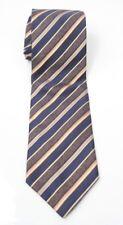 Brioni Mens Tie Striped Design 100% Silk Made in Italy Blue / Gray / Orange