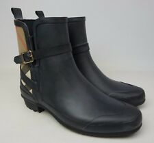 Burberry Riddlestone Wrap Rain Booties Women's Black Brown Rainboots Size 37