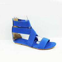 NEW WOMENS LADIES SUMMER FLAT STRAPPY GLADIATOR ANKLE SANDALS SHOES SIZE 3-8