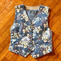 Vintage Liz Claiborne Wear Vest Women Medium Flowers