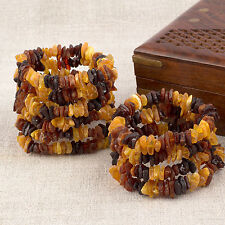 Natural Baltic Amber Raw Unpolished Beads Bracelets - Mix(3+3) Color - Lot 10