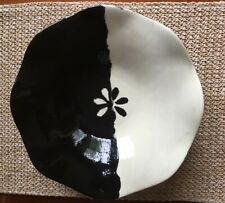 Studio Art Pottery Hand Thrown Black and White Abstract Bowl_