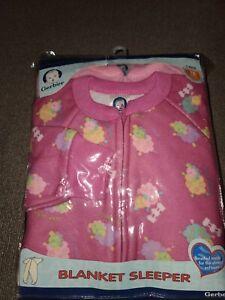 New Vintage 2 Pack Gerber Baby Blanket Sleeper Footie Pajamas 18 Months Pink (J)