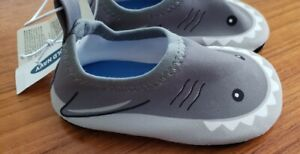 NEW Old Navy Baby Boys 3-6 MONTHS Water Shoes SHARK Gray Slip On Beach #19121