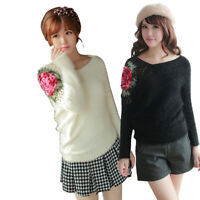 Winter Women Fashion Hollow Rose Batwing Sleeve Pullover Jumper knitwear Sweater