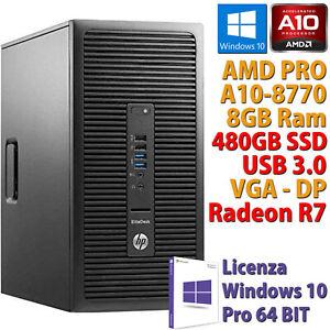 PC COMPUTER RICONDIZIONATO HP 705 G3 AMD A10-8770 RAM 8GB SSD 480GB RADEON R7